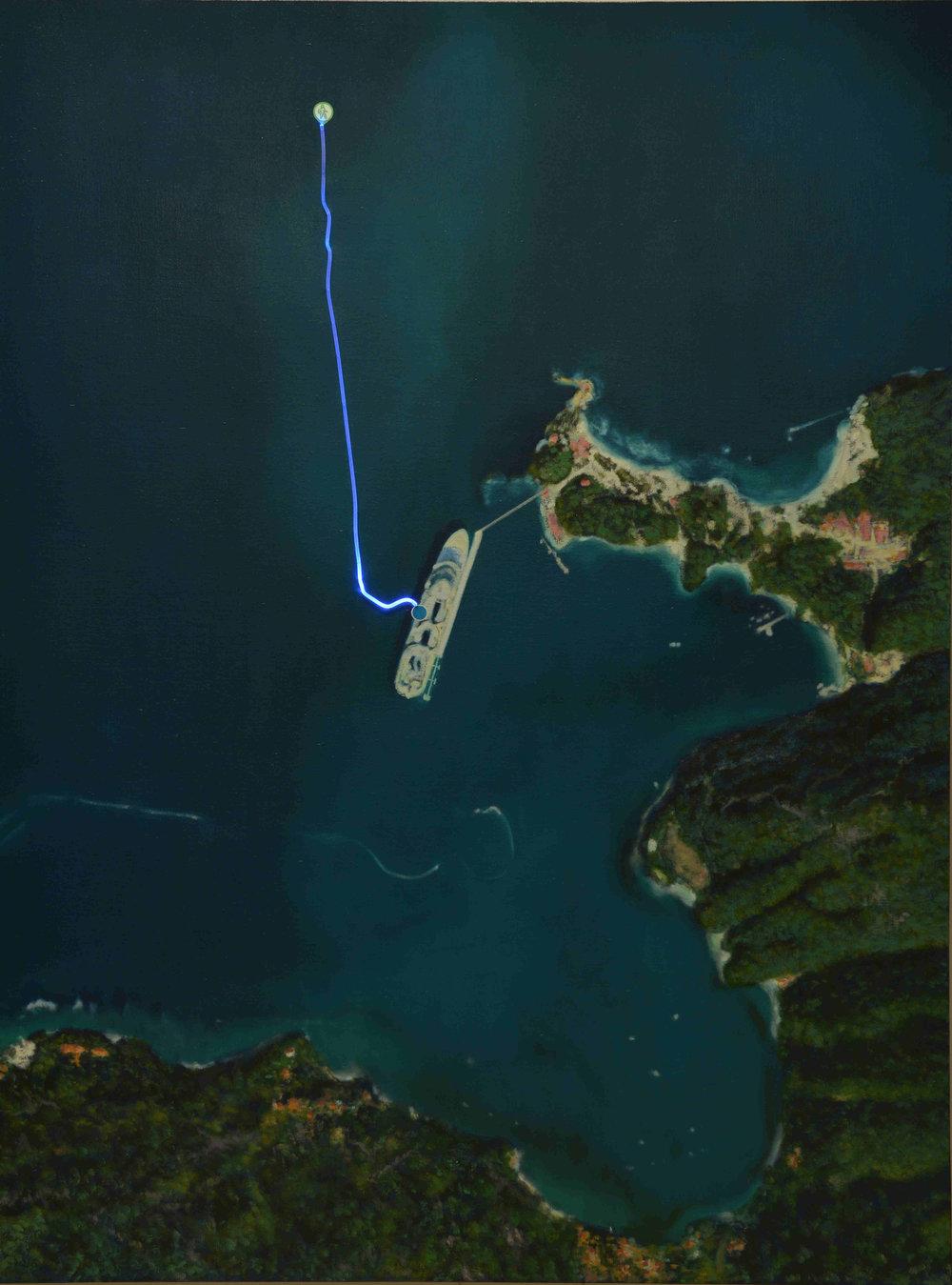 行走NO.25-海上,光纤灯带、油画和综合材料于帆布Walking  No 25-on the sea,Optical Fiber Band, oil and Mixed Medium on Canvas,150X200cm2016年_副本.jpg
