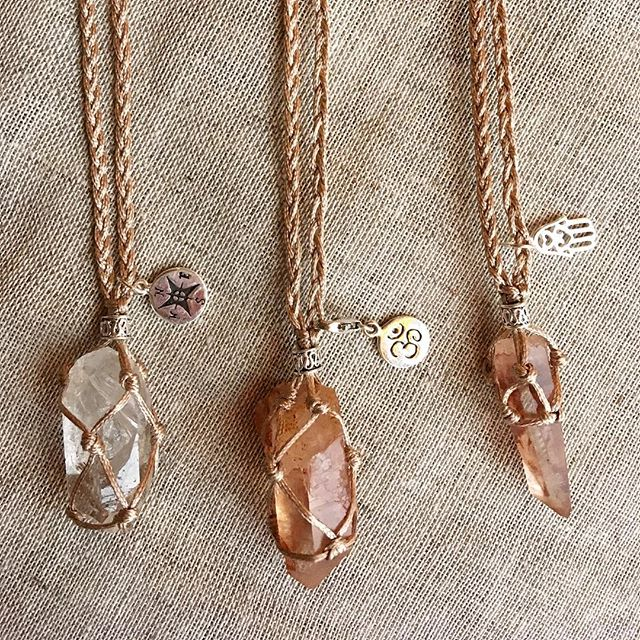 ✨💎✨Clear quartz and Tangerine quartz with silver details.