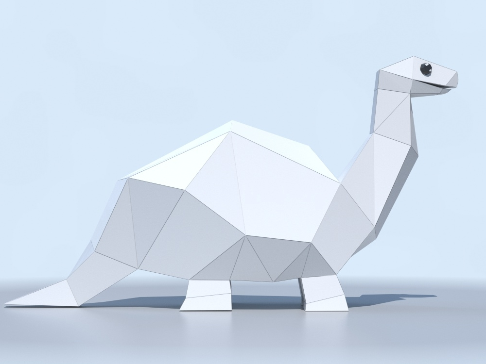 CGI paper dino taking shape.