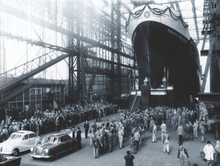 The launch of the Maratha Endeavour in Germany. Vishwasrao pioneered Indian shipping - from trans-shipping, barges, international tramp trading, passenger services, buildings and repairs.
