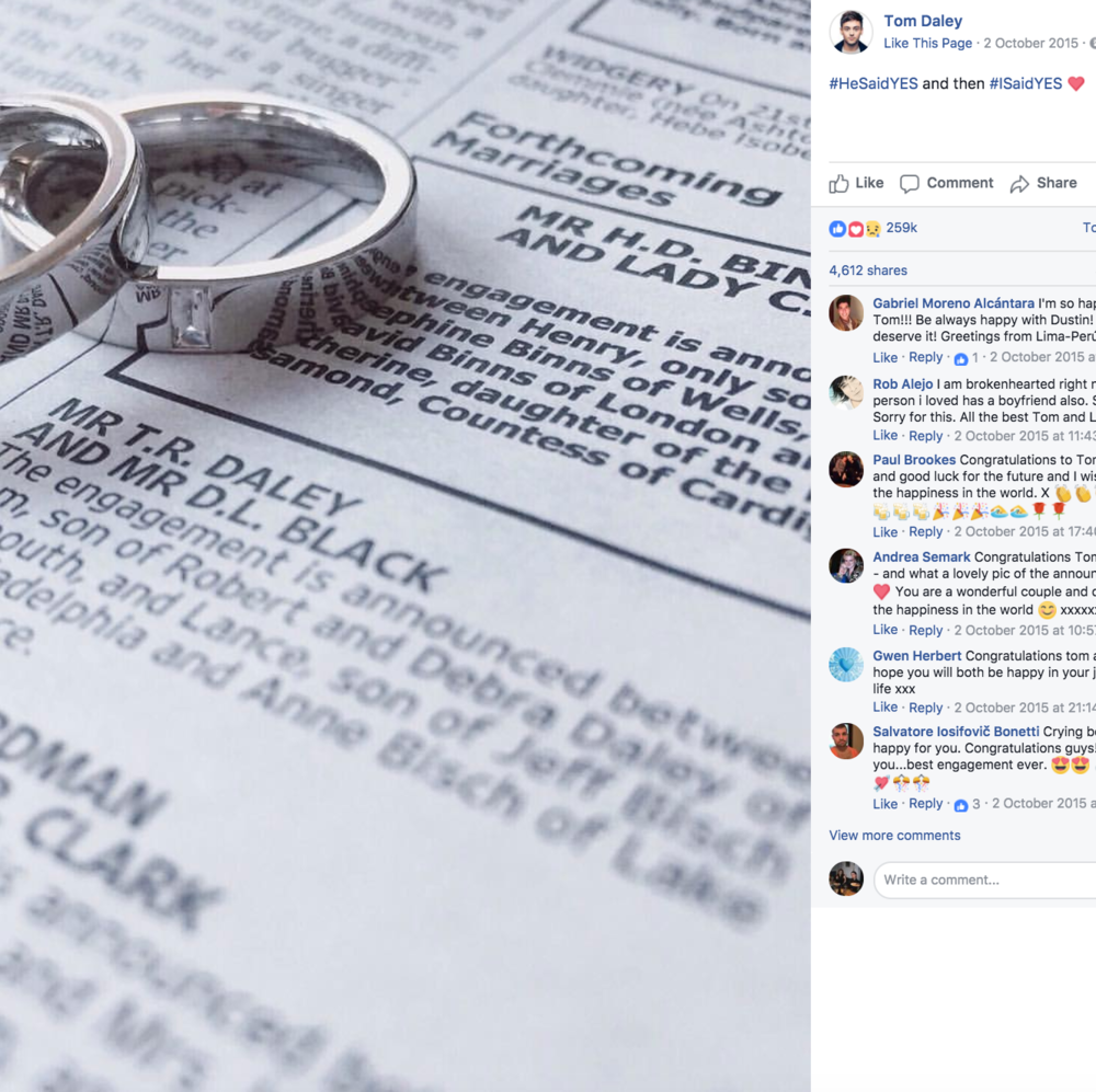 Tom Daley  announced his engagement to Lance Black on Facebook