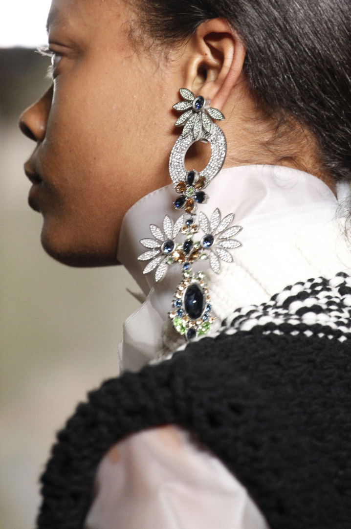 Statement earrings at Burberry. Photo credit Marcus Tondo