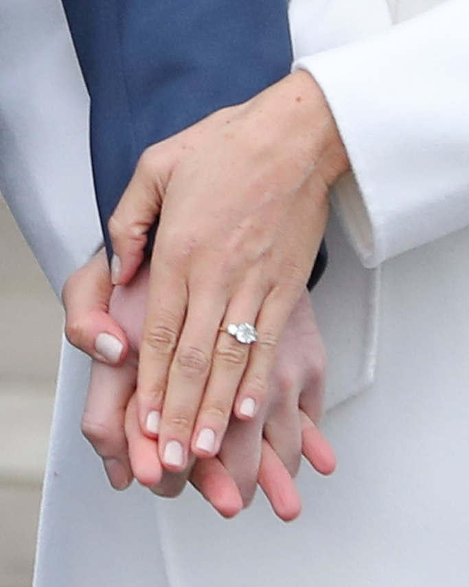 Meghan Markle's bespoke rose gold trilogy engagement ring. Photo Credit Getty