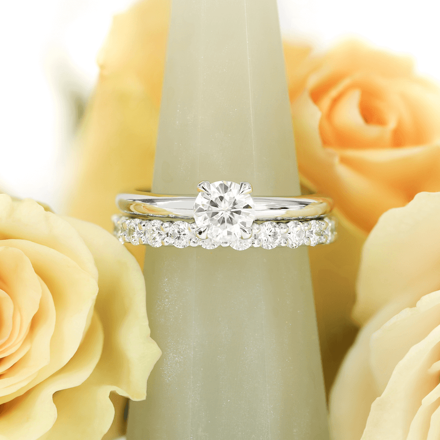The Bardot  engagement ring and  Shared Prong  eternity band