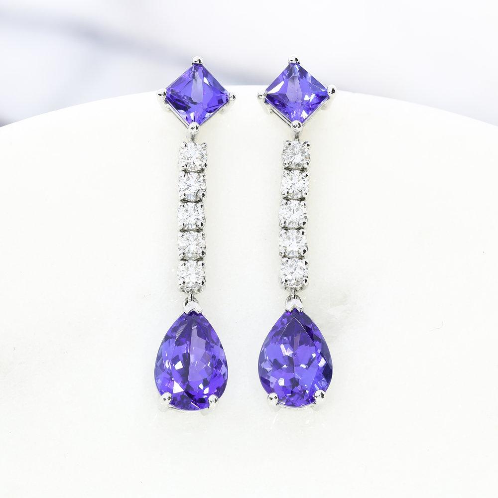 Custom tanzanite & diamond drop earrings, by Queensmith