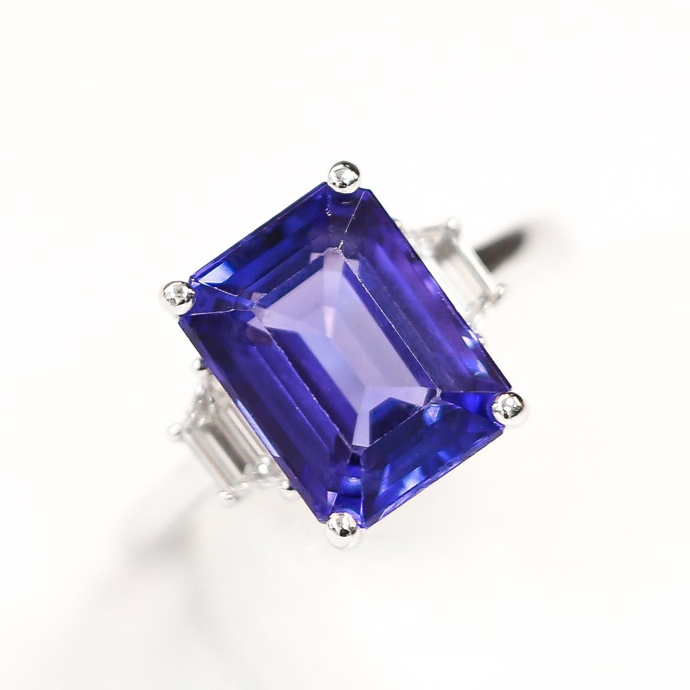 Emerald cut sapphire & diamond ring, by Queensmith