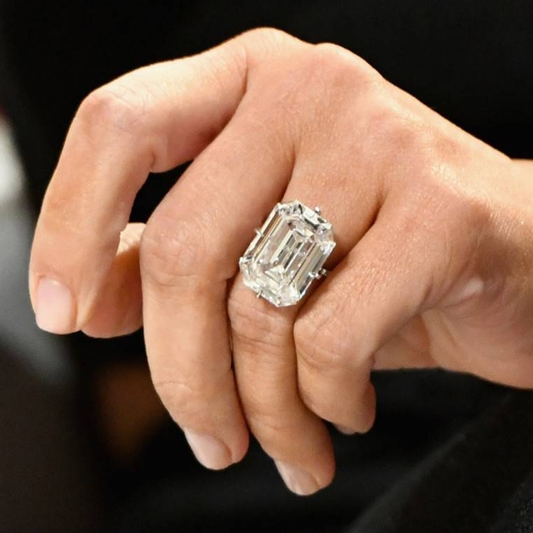 Kim's emerald cut ring, sadly stolen in 2016.  Slaven Vlasic/Getty Images for The Girls' Lounge