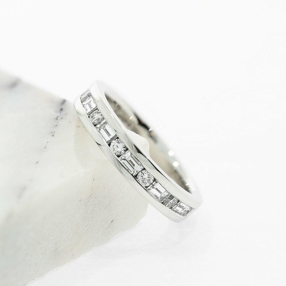 Emerald Cut & Round Diamond Wedding Ring or Eternity Band