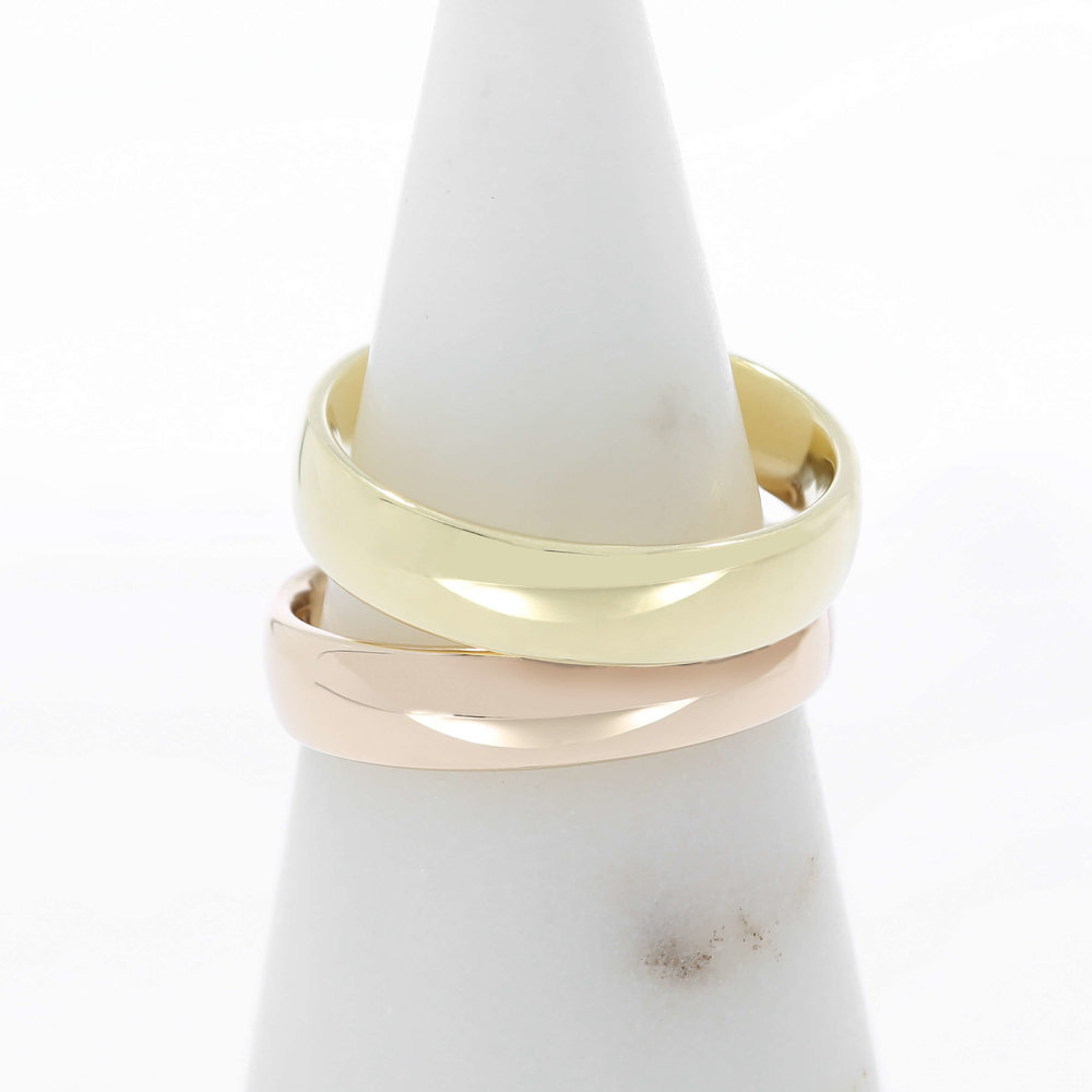 Traditional Yellow Gold & Rose Gold Men's Wedding Bands
