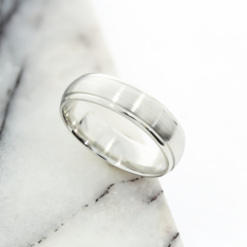 Platinum Wedding Band with Engraved Groove Detailing