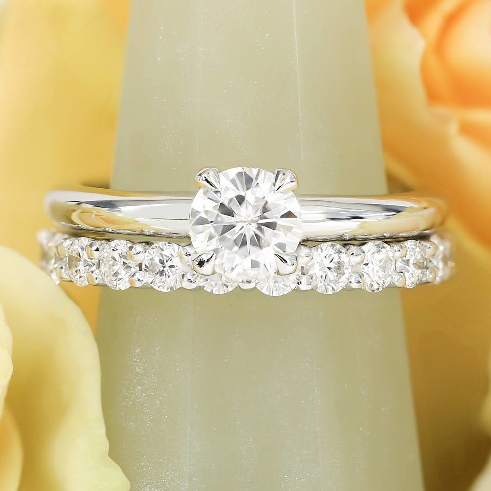 Platinum Solitaire Engagement Ring & Diamond Set Wedding Band