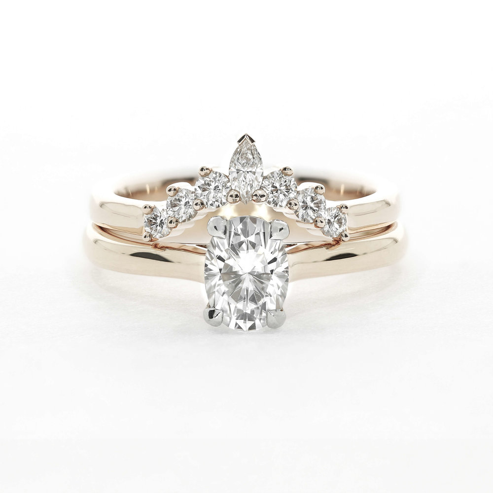 Rose Gold Solitaire Engagement Ring & Contoured Diamond Band