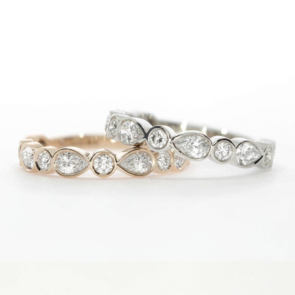 Montez Pear & Round Diamond Wedding Rings or Eternity Bands, Rose Gold & Platinum