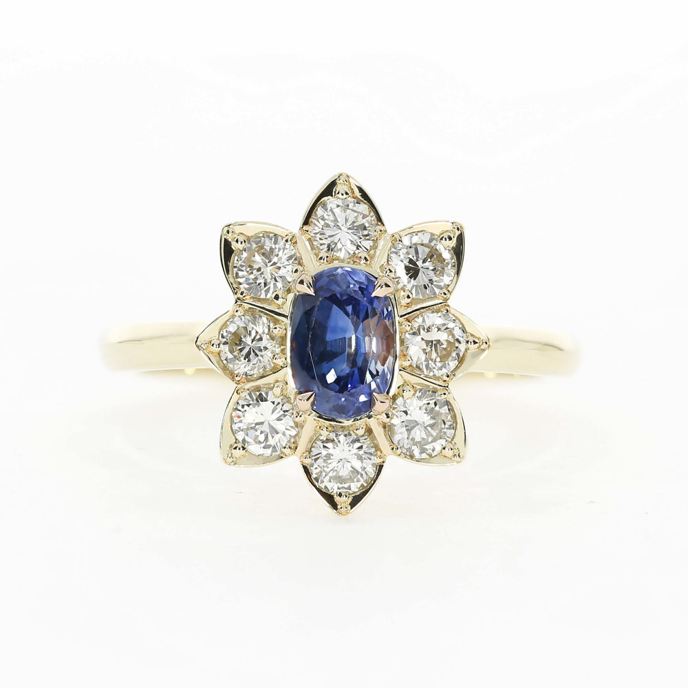 Vintage inspired flower halo engagement ring, by Queensmith