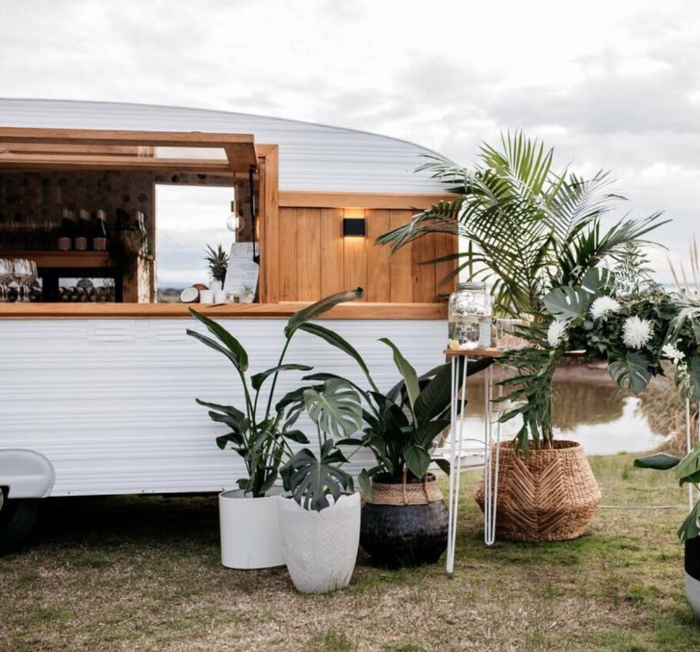 Tropical vibes with a sleek caravan bar @jakehoganphotography