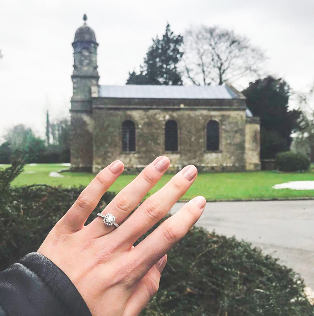 The  Classic Kelly  engagement ring, by Queensmith, at countryside retreat Babington House