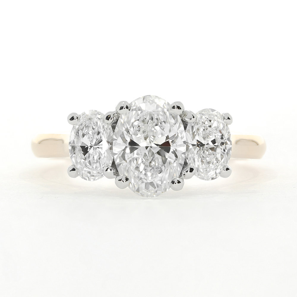 The  Leigh  trilogy engagement ring, using oval diamonds