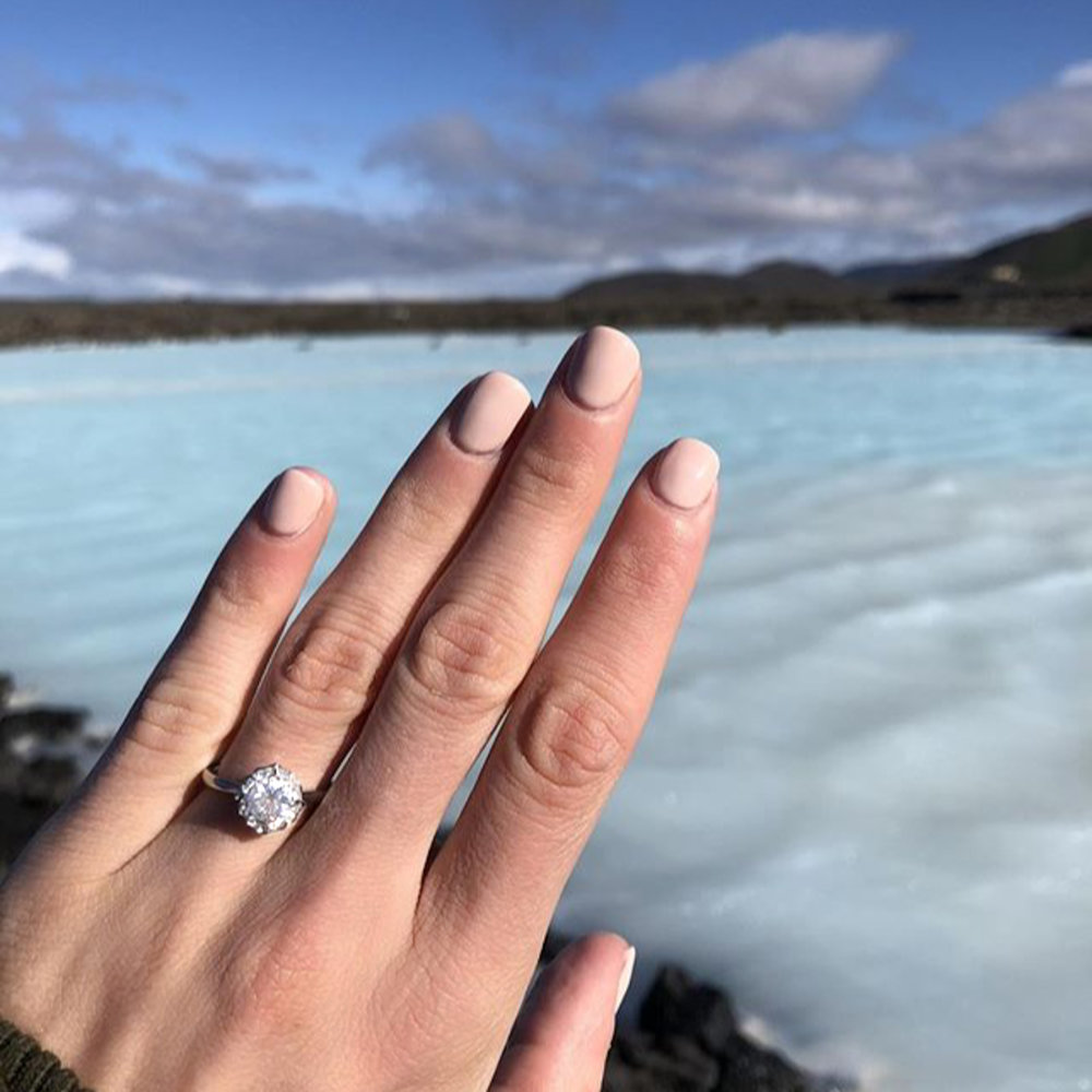 The  Rainer  engagement ring, by Queensmith, in chillier climes