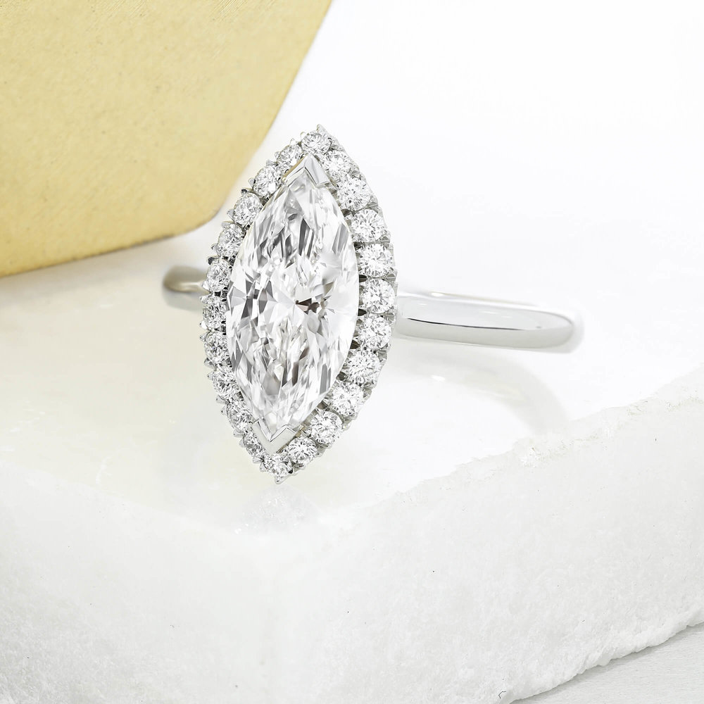 A take on the  Oberon design , featuring a marquise cut diamond
