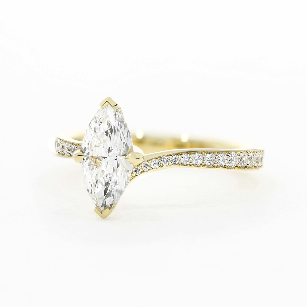 A take on the  Turner Pavé design , featuring a marquise diamond