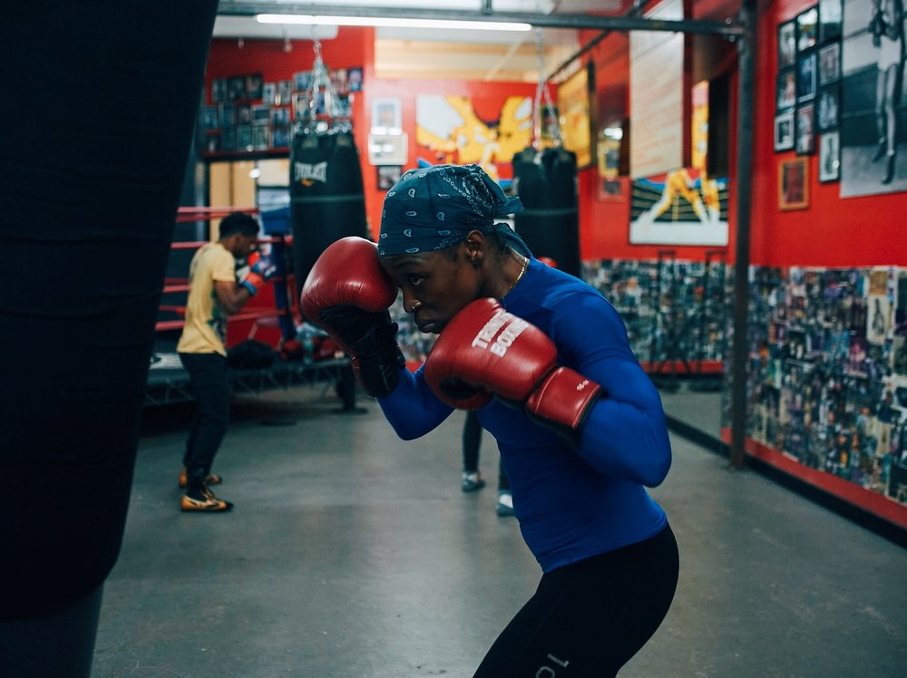World super-featherweight champ Ronica Jeffrey training at Gleason's