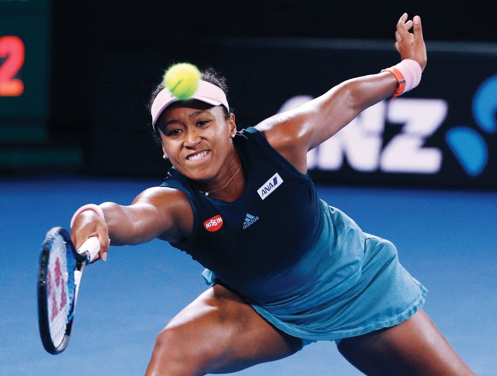 Naomi Osaka playing against Petra Kvitova in the Australian Open 2019 Final