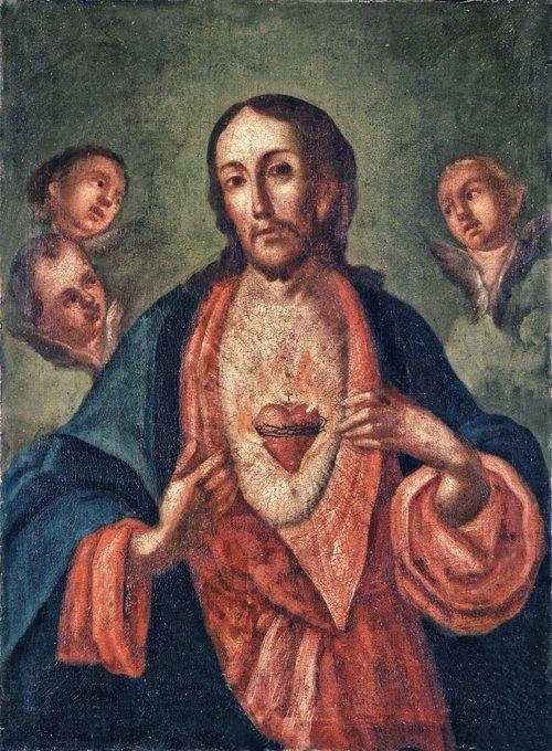 Tytuł:  Chrystus z Sercem Gorejącym  ✞ Modlitwa do Serca Pana Jezusa O najczcigodniejsze Serce Zbawiciela naszego, adorujemy Cię z całą żarliwością na jaką zdobyć się umiemy. Kochamy Cię z całego serca. Ofiarujemy Tobie wszystkie nasze myśli, słowa, uczynki i cierpienia; niech one służą o przeczyste źródło łaski dla Twojej chwały i naszego zbawienia. O Boskie Serce Jezusa, obyśmy mogły, adorując Cię w Przenajświętszym Sakramencie pod postaciami chleba i wina, okazać Tobie podobną cześć i miłość jaką Ty sam Ojcu Niebieskiemu okazujesz i jaką Tobie okazują aniołowie w niebie. Bądź naszym obrońcą w czasie naszej ziemskiej wędrówki oraz schronieniem w godzinie śmierci. O te łaski prosimy Cię dla naszych współsióstr, dla ubogich i chorych naszej opiece powierzonych, dla wszystkich naszych krewnych, przyjaciół i dobrodziejów, dla grzeszników i konających oraz dla wszystkich ludzi na tym łez padole. Oby zasługi Twej Przenajdroższej Krwi dla nich i dla nas stały się rękojmią zbawienia. Uczyń także uczestnikami tych skarbów wszystkie dusze w czyśćcu i dozwól im oglądać Ciebie w szczęśliwości wiecznej. O Boskie Serce Jezusa naszego Zbawiciela, wysłuchaj naszej modlitwy i nie gardź wołaniem Twoich służebnic. — Amen