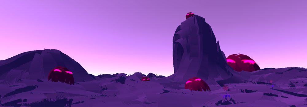 Terrain, some flowers, and sleepy blobs painted in Tilt Brush and rendered in Unity
