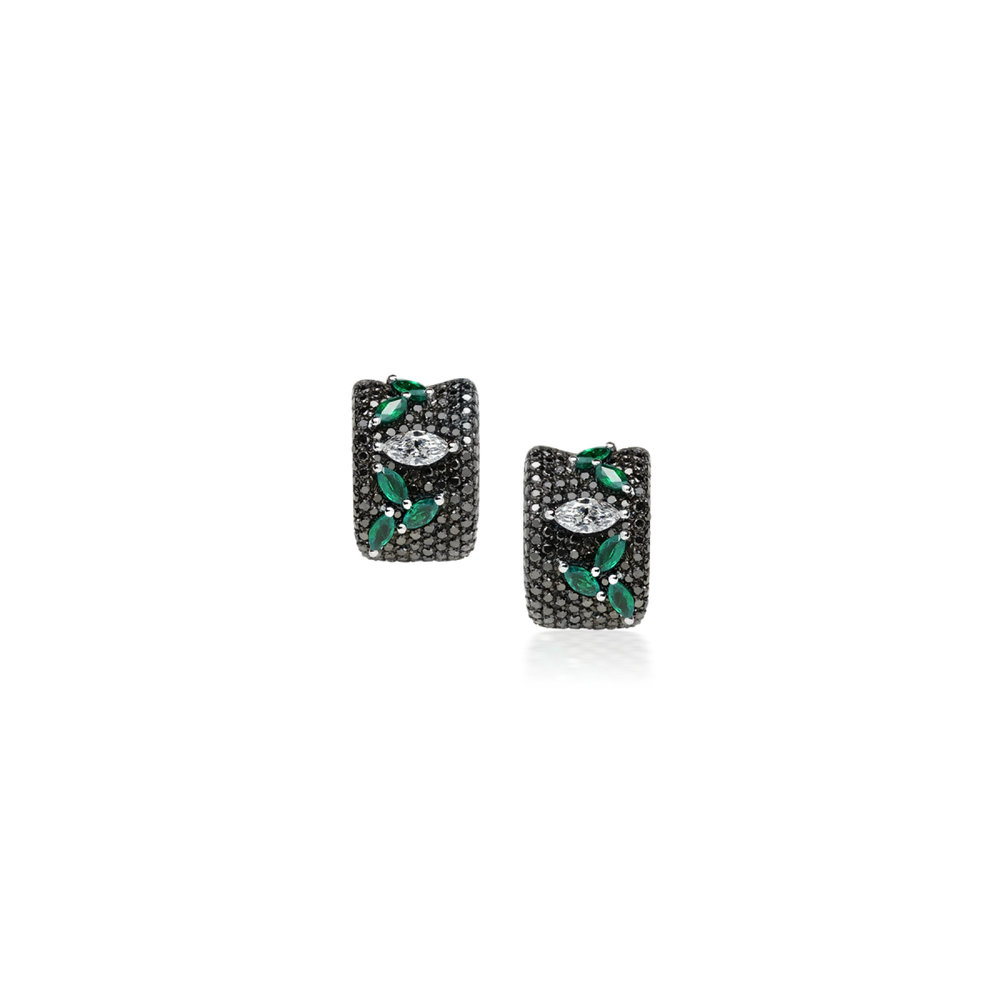 Eternal cocktail ring and earrings White gold with black diamonds, emeralds and a marquise cut diamond Price on Demand