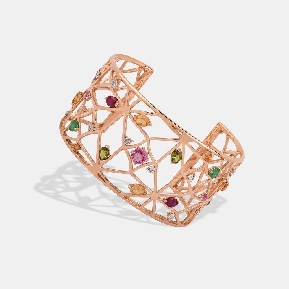 Portuguese Story statement bracelet Pink gold with diamonds, sapphires, peridots, rubies, quartz and tsavorites