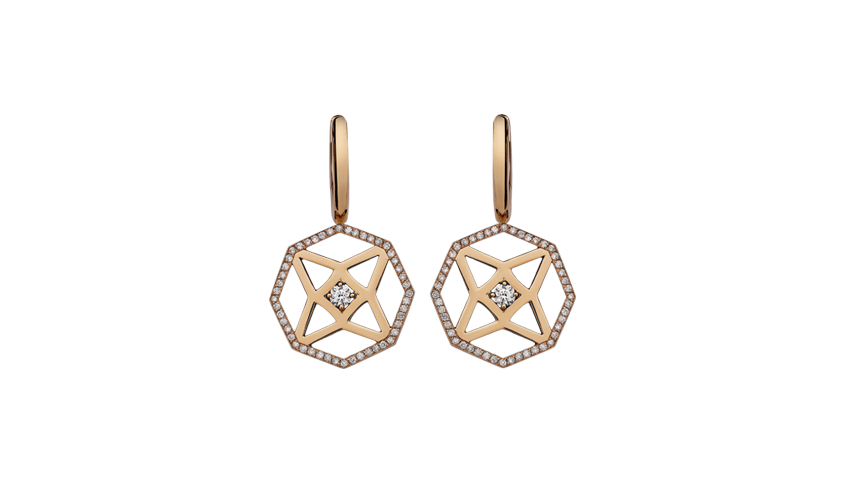 Portuguese Story Octagon Small Earrings Pink gold, diamonds