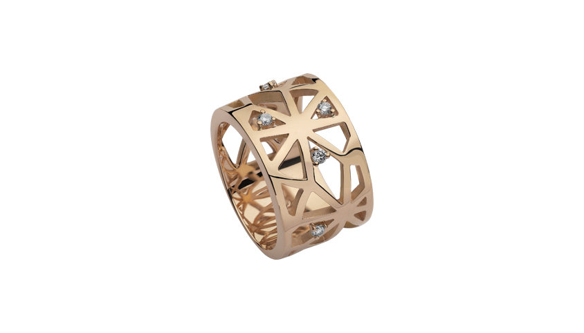AN2314- Portuguese Story Band 19,2 Kt. pink gold ring with 5 brilliant cut diamonds with 0,15 ct.  PVP 2,160 €