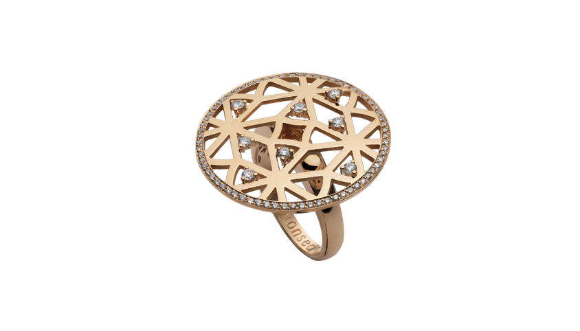 AN2321- Portuguese Story Cocktail Ring 19,2 Kt. pink gold ring with 76 brilliant cut diamonds with 0,52 ct. PVP 3,200 €