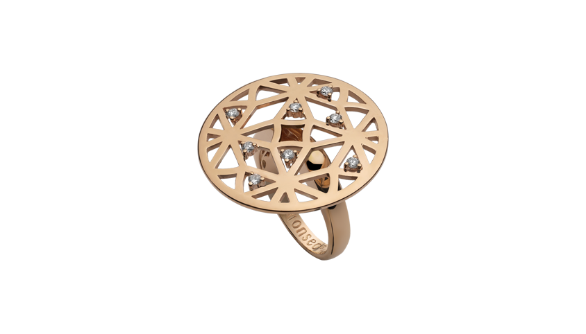 AN2313 - Portuguese Story Cocktail Ring 19,2 Kt. pink gold ring with 8 brilliant cut diamonds with 0,24 ct. PVP 2,300 €