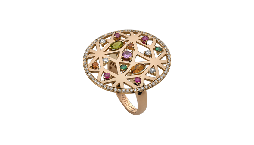AN2329- Portuguese Story Cocktail Ring 19,2 Kt. pink gold ring with 72 brilliant cut diamonds with 0,42 ct. 1 peridoto with 0,18 ct. 1 quartz with 0,19 ct 4 rubies with 0,19 ct. 3 sapphires with 0,22 ct. and 2 tsavorites with 0,08 ct. PVP 3,380 €