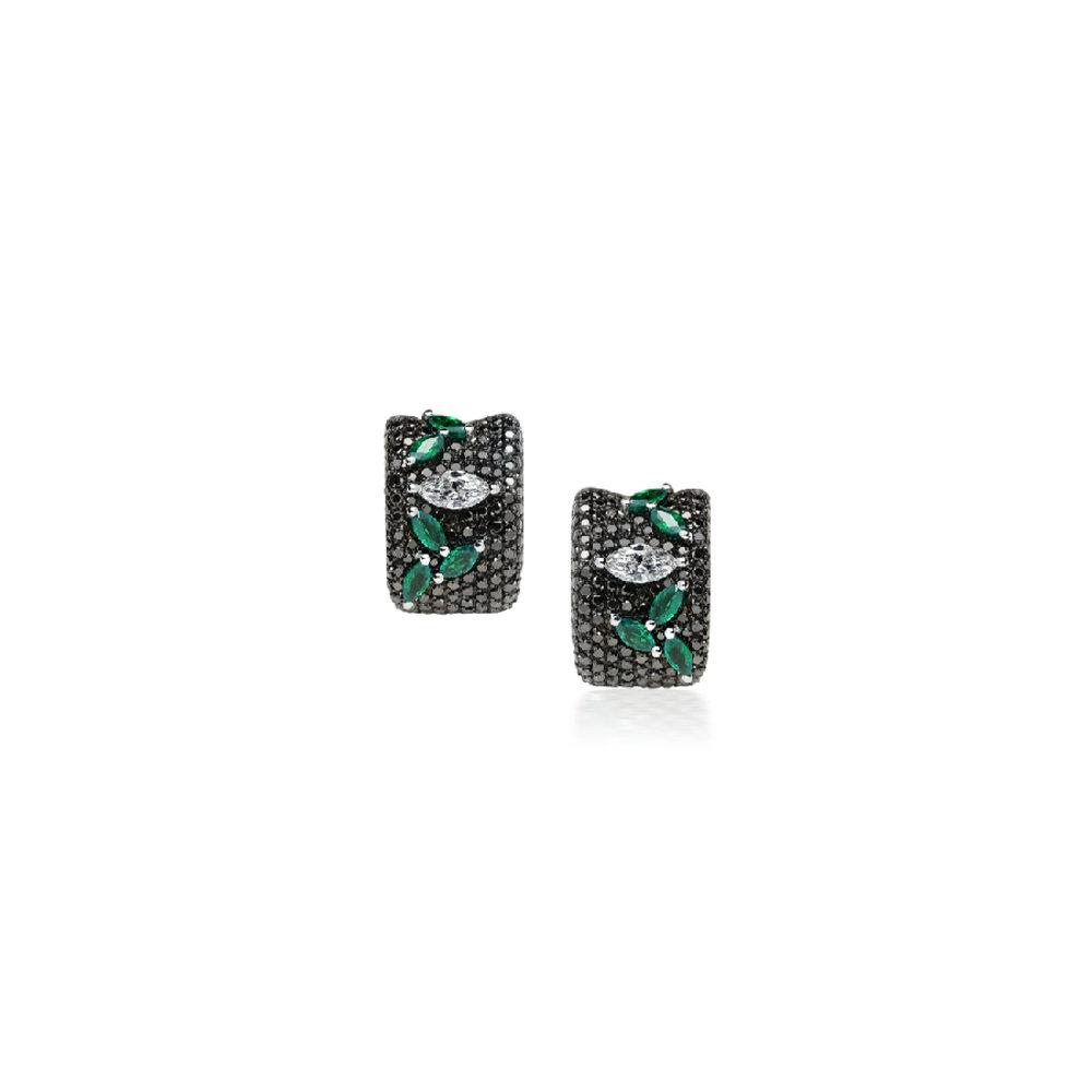 BI2069D - Eternal Earrings 19,2 Kt. white gold earrings with 258 black brilliant cut diamonds 2,70 ct. 2 navette cut diamonds with 0,61 ct. and 10 navette cut emeralds with 1,48 ct. PVP 11,600 €