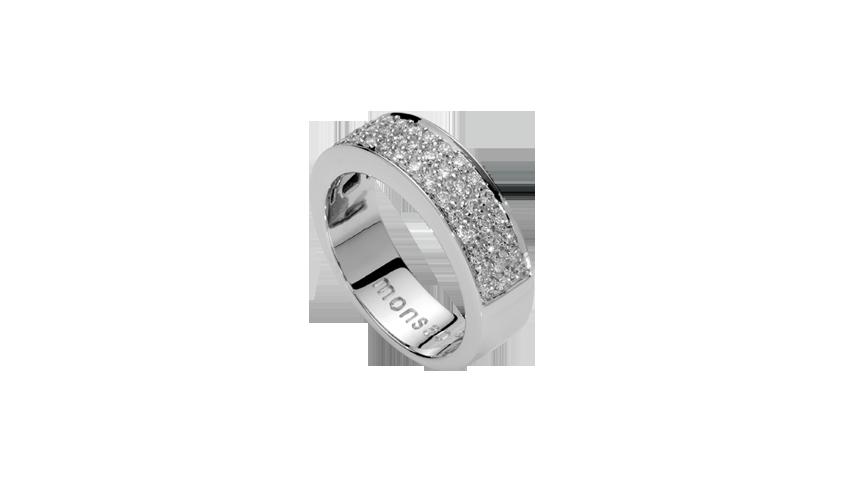 AN1286 - Anel QUADRATU 003 Moments Collection   Anel em ouro branco 19,2 kt. com 45 diamantes lapidação brilhante com 0,51 ct.   PVP 2,800 € - existe em stock
