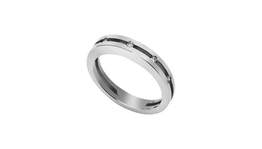 AN0946 - Moments Collection Anel em ouro branco 19,2 kt. com 5 diamantes lapidação brilhante com 0,08 ct. PVP 1,120 €