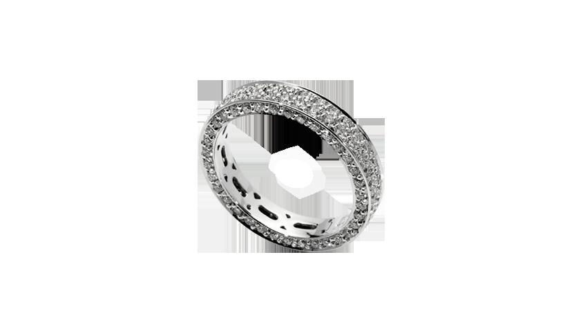AN1676 - Aliança QUADRATU 002 Moments Collection    Aliança em ouro branco 19,2 kt. com 136 diamantes lapidação brilhante com 1,44 ct.  PVP 5,500 € - existe em stock