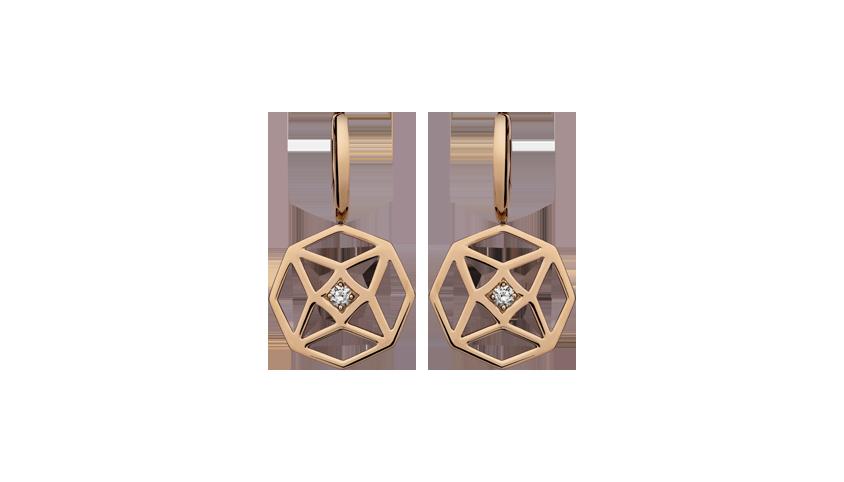 BI2315 - Portuguese Story Earrings   Brincos em rosa 19,2 kt. com 2 diamantes lapidação brilhante com 0,19 ct. PVP 1760 €