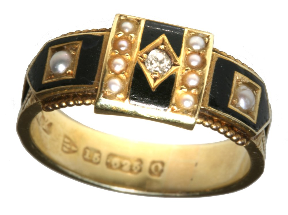 Antique 15ct Gold Diamond, Pearl and Enamel Mourning Ring