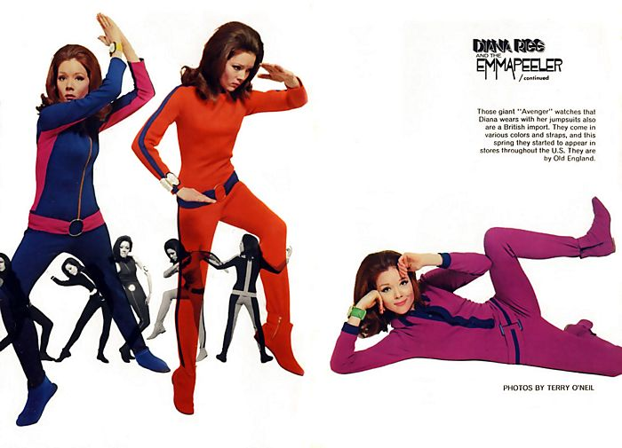 Diana Rigg models giant Avenger watches made by Old England, in various colours and straps