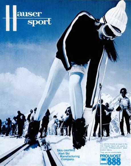 1967 Hauser Sport ad. Front piece: stirrup ski pants by Schilltex, 1967