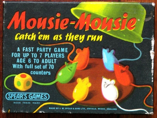 A 'twitch' game created in 1963, loved by all ages. The catcher is poised with the catching bowl, the rest are poised with the tails of the mice. The dice is rolled, the hysteria  begins.