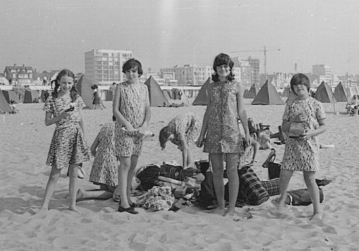 On the sands at Le Touquet, Ingrid in the dress from Liberty's with admiring first formers