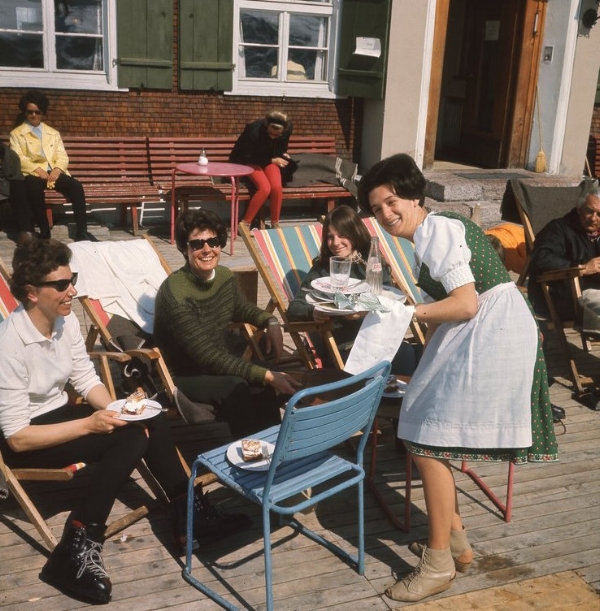 June, Ma, Ingrid and Erna on the terrace of the Post. We loved Erna, and her beautiful Austrian costume (but not the footwear)