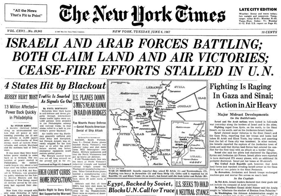 New York Times headline of 6 June, the second day of the war.