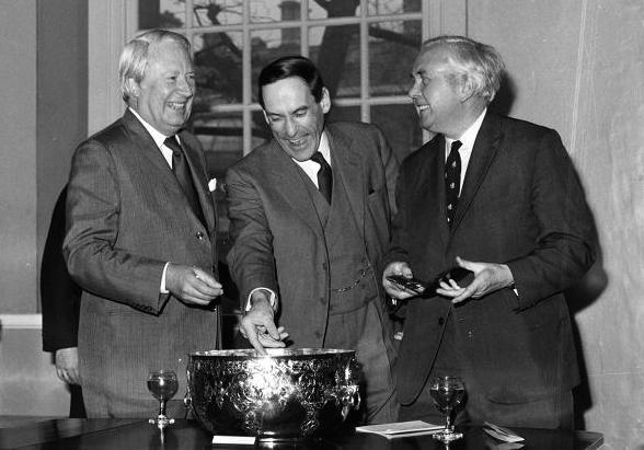 Our esteemed leaders, left to right: Edward Heath (Conservative, Leader of the Opposition);  Jeremy Thorpe (Liberal); Harold Wilson (Labour, PM).