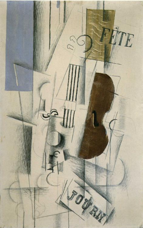 'Violin and Newspaper', Georges Braque, 1912-13