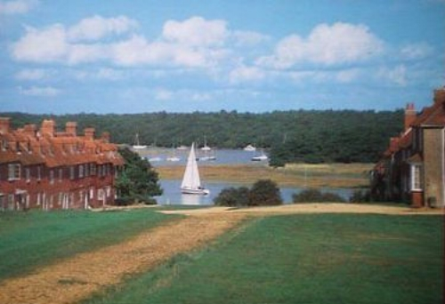 Buckler's Hard, where the ships for Nelson's fleet were built. The Master Builder (now a hotel) is at the bottom on the left. The marina was built in 1973